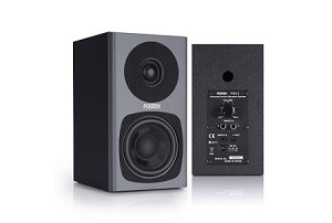 FOSTEX PM0.3 Active Speaker System (Grey-Front Angle and Back views)