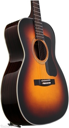Guild GAD Series F-130 Orchestra Guitar (Sunburst colour- Front Angle view)