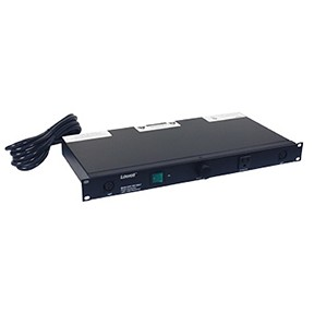 Lowell ACR-1507-GNLT 15A 7-Outlet Rackmount Power Panel With Lights (Front Angle view)