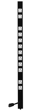 Lowell ACS-1512 15A AC Power Strip With Attached (Fixed) Cord (Top view)