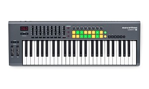 NOVATION LaunchKey 49 Performance Controller Keyboard-49 keys.(Overhead view)
