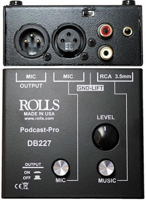 Rolls DB227 Podcast Pro Mic/Source Passive Mixer (Top and Back views)